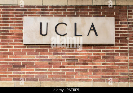 LOS ANGELES, CA/USA - MAY 25, 2015: Entrance sign to UCLA campus. - Stock Photo