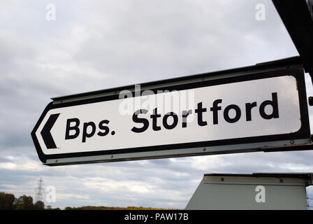 A traffic sign pointing to the right direction towards Bishop's Stortford in Hertfordshire. - Stock Photo
