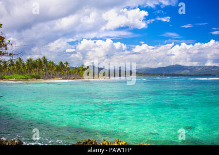 Caribbean sea surface summer wave background. Exotic water landscape with clouds on horizon. Dominican Republic nature relax. Travel tropical island r - Stock Photo