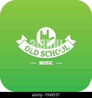 Old school music logo, simple gray style Stock Vector Art