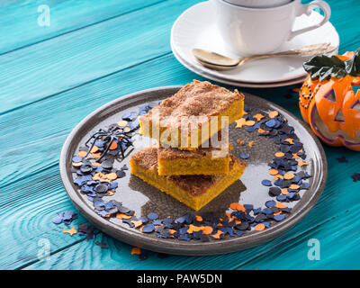 Pumpkin blondies brownies for Halloween holiday party - Stock Photo