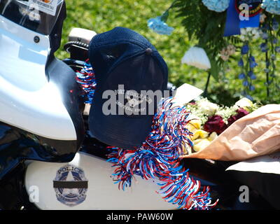 Dallas,USA,24 July 2018. Sr, CPL Earl 'Jamie' Givens, a 32-year veteran of the Dallas Police Department died in the line of duty whilst escorting a funeral procession as a member of the Motorcycle Unit. Officer Givens was struck by a SUV. The driver was arrested for allegedly being under the influence of alcohol. Funeral services will be this coming Thursday at Prestonwood Baptist Church, Plano. Credit: dallaspaparazzo/Alamy Live News - Stock Photo