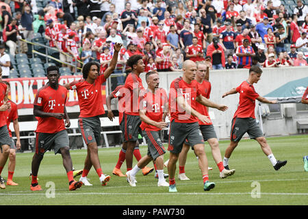 Philadelphia, Pennsylvania, USA. 24th July, 2018. Players of Bayern Munich participate in a team practice at Lincoln Financial Field in Philadelphia PA Credit: Ricky Fitchett/ZUMA Wire/Alamy Live News - Stock Photo