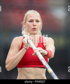 Nuremberg, Deutschland. 22nd July, 2018. Anjuli KNAESCHE (KNAÌSCHE), SG TSV Kronshagen/Kiel TB, action. Final pole vault of women on 22.07.2018. German Athletics Championships 2018, from 20.07. - 22.07.2018 in Nuernberg/Germany. | Usage worldwide Credit: dpa/Alamy Live News - Stock Photo
