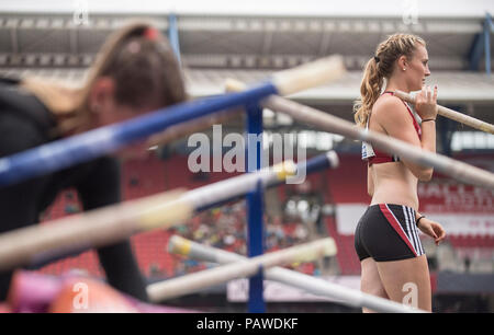 Nuremberg, Deutschland. 22nd July, 2018. Feature, Ria MOELLERS (MOÌLLERS), TSV Bayer 04 Leverkusen Final Pole Vault Women on 22.07.2018. German Athletics Championships 2018, from 20.07. - 22.07.2018 in Nuernberg/Germany. | Usage worldwide Credit: dpa/Alamy Live News - Stock Photo