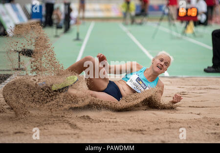 Nuremberg, Deutschland. 22nd July, 2018. Melanie BAUSCHKE, LAC Olympia 88 Berlin, action. Final long jump of women on 22.07.2018. German Athletics Championships 2018, from 20.07. - 22.07.2018 in Nuernberg/Germany. | Usage worldwide Credit: dpa/Alamy Live News - Stock Photo