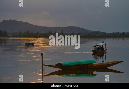 July 25, 2018 - Budgam, Jammu And Kashmir, India - A boat is seen moored at the lake..On a rainy day around Dal Lake in Srinagar, the summer capital of Indian administered Kashmir, India. (Credit Image: © Masrat Zahra/SOPA Images via ZUMA Wire) - Stock Photo