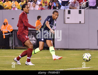 East Rutherford, New Jersey, USA. 25th July, 2018. Leroy Sane (19) of Manchester City shoots and scores during a International Champions Cup match at Metlife Stadium in East Rutherford, New Jersey. Gregory Vasil/Cal Sport Media/Alamy Live News - Stock Photo