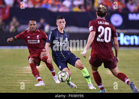 East Rutherford, New Jersey, USA. 25th July, 2018. Phil Foden (47) of Manchester City controls the ball during a International Champions Cup against Liverpool FC at Metlife Stadium in East Rutherford, New Jersey. Gregory Vasil/Cal Sport Media/Alamy Live News - Stock Photo