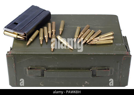 Ammo can with ammunition - Stock Photo