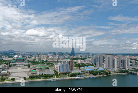 The unfinished Ryugyong hotel, Kim Il-sung Square , Taedong River and Grand People's Study House (National Library) in Pyongyang, North Korea - Stock Photo