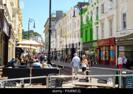 Cafes in Robertson Street, Hastings, East Sussex, UK - Stock Photo