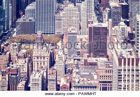 Vintage toned picture of new york city manhattan. - Stock Photo