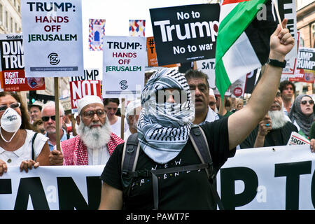 Palestinians at Anti Trump protest during his London visit. Central London July 13 2018 - Stock Photo