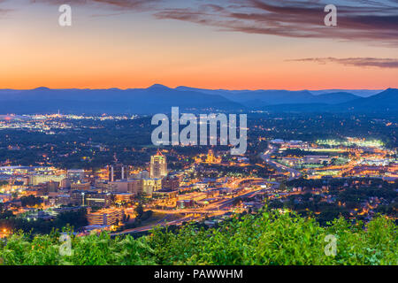 Roanoke, Virginia, USA downtown skyline at dusk. - Stock Photo