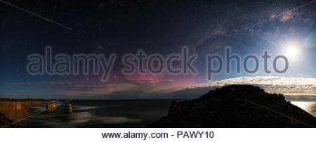 Scenic nature view of the sea under a starry sky at night - Stock Photo