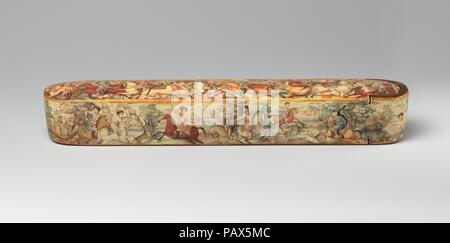 Pen Box (Qalamdan) Depicting Shah Isma'il in a Battle against the Uzbeks. Dimensions: H. 1 1/2 in. (3.8 cm)  W. 10 1/8 in. (25.7 cm)  D. 1 7/8 in. (4.8 cm). Date: early 19th century.  Painted in a harmonious palette of pastels with touches of gold on a cream-colored background, this pen box is an unusual and sensitively drawn example of Persian lacquer from the dawn of the nineteenth century, possibly by the master court painter Mirza Baba (active 1780s-1810) or an artist in his circle. The top depicts one of the battles between the first Safavid ruler, Shah Isma'il I (r. 1501-24), and the Ott - Stock Photo