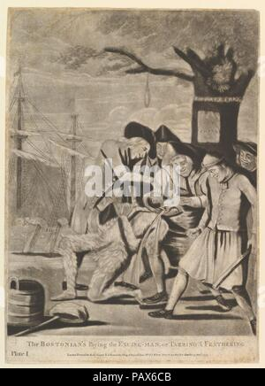 The Bostonians Paying the Excise-Man, or Tarring & Feathering. Artist: Attributed to Philip Dawe (British, 1745?-?1809). Dimensions: sheet: 14 x 10 1/8 in. (35.6 x 25.7 cm). Publisher: R. Sayer and J. Bennett (London). Date: October 31, 1774.  This pre-American Revolution satire published in London shows John Malcolm, British customs agent in Massachusetts, tarred, feathered, and forced to drink tea. The event of January 24, 1774 occurred soon after the Boston Tea party of December 16, 1773 where colonists famously dumped imported tea into the harbor to protest a tax levied by the British Parl - Stock Photo