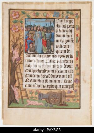 Manuscript Leaf with the Betrayal, from a Book of Hours. Culture: Netherlandish. Dimensions: 6 7/16 x 4 11/16 in. (16.4 x 11.9 cm)  Other (text frame): 3 11/16 x 2 5/8 in. (9.3 x 6.7 cm)  Other: 12 × 10 in. (30.5 × 25.4 cm). Date: ca. 1500. Museum: Metropolitan Museum of Art, New York, USA. - Stock Photo