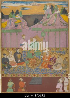 The House of Bijapur. Artist: Painting by Kamal Muhammad (active 1680s); Painting by Chand Muhammad (active 1680s). Dimensions: Page: H. 16 1/4 in. (41.3 cm)  W. 12 13/16 in. (32.5cm)  Mat: H. 22 in. (55.9 cm)  W. 16 in. (40.6 cm). Date: ca. 1680.  This image from Bijapur made for the last of its rulers, Sikandar, shown here as a young boy soon before the fall of the kingdom to Mughal conquerors in 1686, brings together all nine 'Adil Shahi sultans in a dynastic assembly likely inspired by Mughal paintings illustrating the same idea. Distant views of water hint at Bijapur's former vastness, wh - Stock Photo