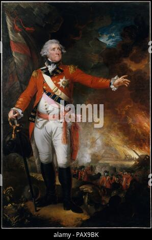 General George Eliott. Artist: Mather Brown (American, Boston, Massachusetts 1761-1831 London). Dimensions: 98 3/16 x 64 3/8 in. (249.4 x 163.5 cm). Date: 1790.  Brown's grand-manner portrait of General George Eliott (1717-1790) is a great spectacle that captured both the painter and his subject at the pinnacle of their respective careers. Descended from America's earliest settlers, Brown grew up in Boston and trained in London under Benjamin West. General Eliott commanded the British garrison against the allied Spanish and French forces at Gibraltar (1779-83). The pyrotechnic portrait shows E - Stock Photo