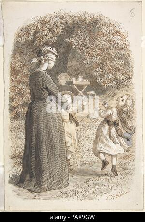 A Mother and Two Children Playing Blind Man's Bluff. Artist: Lorenz Frølich (Danish, Copenhagen 1820-1908 Hellerup). Dimensions: 7 3/16 x 4 13/16 in.  (18.2 x 12.2 cm). Date: 1835-1903. Museum: Metropolitan Museum of Art, New York, USA. - Stock Photo