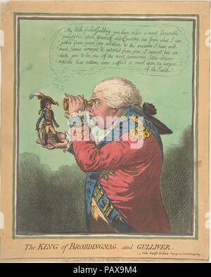 The King of Brobdingnag and Gulliver.-Vide. Swift's Gulliver: Voyage to Brobdingnag. Artist: James Gillray (British, Chelsea 1756-1815 London); After Lieutenant Colonel Thomas Braddyll (British, 1776-1862). Dimensions: sheet (clipped impression): 12 1/16 x 9 5/8 in. (30.6 x 24.4 cm). Publisher: Hannah Humphrey (London). Date: June 26, 1803.  Napoleon Bonaparte, First Consul of France, perches on the hand of his enemy King George III who regards him through a spyglass. Five weeks before this print was published, the tenuous Peace of Amiens between Britain and France had broken down. The title r - Stock Photo