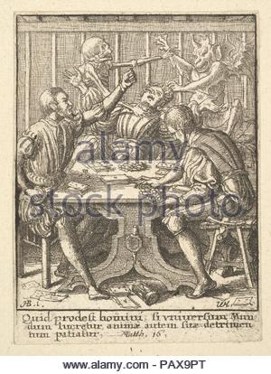 The Gamesters, from the Dance of Death. Artist: After Hans Holbein the Younger (German, Augsburg 1497/98-1543 London). Dimensions: Sheet: 2 15/16 × 2 3/16 in. (7.4 × 5.5 cm). Etcher: Wenceslaus Hollar (Bohemian, Prague 1607-1677 London). Series/Portfolio: Dance of Death, after Holbein. Date: 1651.  Three men play cards at a table.  The one at right gathers his winnings while  the player at left puts his hand on his dagger. The player at center is seized by Death and a devil. Museum: Metropolitan Museum of Art, New York, USA. - Stock Photo