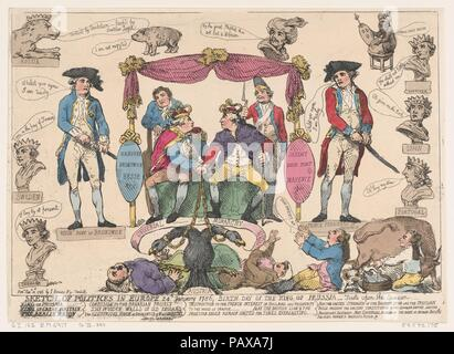 Sketch of Politiks in Europe, Birthday of the King of Prussia. Artist: Thomas Rowlandson (British, London 1757-1827 London). Dimensions: Sheet: 10 1/2 × 14 3/4 in. (26.7 × 37.5 cm). Publisher: S. Hedges, London. Subject: George III, King of Great Britain and Ireland (British, London 1738-1820 Windsor); Charles II, Duke of Brunswick-Luneberg (German, Brunswick 1735-1806 Hamburg); Emperor Joseph II (Austrian, 1741-1790); Stanislaus Augustus Poniatowski, King of Poland; King Charles III; Gustav III, King of Sweden (Swedish, 1746-1792); Louis XVI, King of France (French, Versailles 1754-1793 Paris - Stock Photo