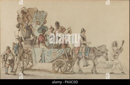 Theatrical Troupe on the Road. Artist: Eugène Delacroix (French, Charenton-Saint-Maurice 1798-1863 Paris). Dimensions: Sheet: 10 11/16 × 17 3/8 in. (27.1 × 44.2 cm). Date: ca. 1818.  This large watercolor caricature depicts the departure of a troupe of stage actors, musicians, scene painters, etc., their horse-drawn cart piled high with books, props, and tools of the trade. A guitar player leads the procession, while others bring up the rear, walking alongside the cart carrying tools and equipment. The low horizon and distant town suggests that they are far from any major city.  The drawing is - Stock Photo