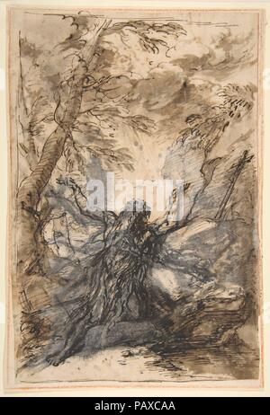 St. Paul, Hermit. Artist: Salvator Rosa (Italian, Arenella (Naples) 1615-1673 Rome). Dimensions: 11-1/2 x 7-5/8 in. (29.2 x 19.4 cm). Date: 1615-73.  A poet, painter, printmaker, and actor, Rosa was a fascinating, if irascible, figure in early modern Italy, ?and a prolific, expressive draftsman. This drawing is possibly a study for his painting of Saint Paul in the wilderness, originally commissioned for the church ?of Santa Maria della Vittoria, in Milan. The intensity ?of the saint's devotion, with his arms and gaze turned heavenward, is matched by the agitated landscape ?and the whirling en - Stock Photo