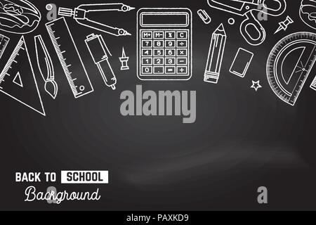 Seamless pattern with school supplies stationery equipment. Back to School background. Vector Illustration. Back to school education concept. - Stock Photo