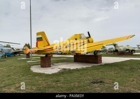 KRUMOVO, PLOVDIV, BULGARIA - 29 APRIL 2017: Plane LZ 3007 in Aviation Museum near Plovdiv Airport, Bulgaria - Stock Photo