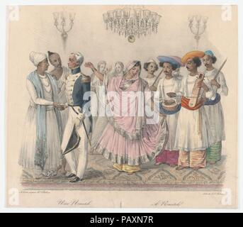 Une Nautch; from Twenty four Plates Illustrative of Hindoo and European Manners in Bengal. Artist: Alexandre-Marie Colin (French, Paris 1798-1875 Paris); Jean Jacques Belnos (French, active 1933); after Mrs. Belnos. Dimensions: Sheet: 10 11/16 × 12 5/16 in. (27.1 × 31.2 cm). Date: 1832. Museum: Metropolitan Museum of Art, New York, USA. - Stock Photo