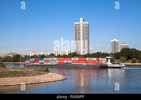 the skyscraper Colonia-House in the district Riehl, river Rhine, container vessel, Cologne, Germany,  das Colonia-Haus im Stadtteil Riehl, Rhein, Cont - Stock Photo