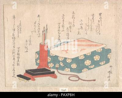 Writing Set and Poem Card Box (Shikishi-bako), from Spring Rain Surimono Album (Harusame surimono-jo), vol. 1. Artist: Ryuryukyo Shinsai (Japanese, active ca. 1799-1823). Culture: Japan. Dimensions: 4 15/16 x 6 13/16 in. (12.5 x 17.3 cm). Date: ca. 1805-10.  Surimono are privately published woodblock prints, usually commissioned by poets or poetry groups as a form of New Year's greeting card. The poems, most commonly kyoka (witty thirty-one syllable verse), inscribed on the prints usually include felicitous imagery connected with spring, which in the lunar calendar begins on the first day of t - Stock Photo