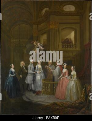 The Wedding of Stephen Beckingham and Mary Cox. Artist: William Hogarth (British, London 1697-1764 London). Dimensions: 50 1/2 x 40 1/2 in. (128.3 x 102.9 cm). Date: 1729.  This wedding group is one of the artist's first essays in the fashionable genre of the conversation piece. Beckingham, a London lawyer, and his bride are flanked by members of their families. The marriage took place at St. Benet's but the setting is based on the church of St. Martin-in-the-Fields in Trafalgar Square. Although Hogarth was sought after for his ability to capture a likeness, the solemn event depicted here seem - Stock Photo