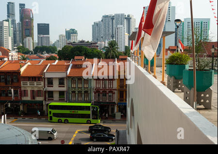 19.07.2018, Singapore, Republic of Singapore, Asia - An elevated view of traditional shophouses in Singapore's Chinatown district. - Stock Photo