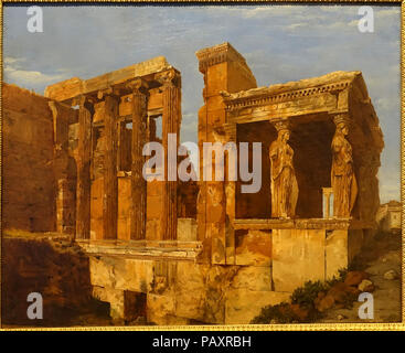 A View of the Erechtheum on the Acropolis, Athens, by Charles Lock Eastlake, 1818, oil on paper on canvas - Stock Photo