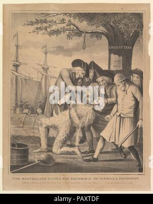 The Bostonians Paying the Excise-Man, or Tarring & Feathering. Artist: David Claypoole Johnston (American, Philadelphia, Pennsylvania 1799-1865 Dorchester, Massachusetts). Dimensions: image: 12 1/16 x 10 1/8 in. (30.6 x 25.7 cm)  sheet: 13 15/16 x 11 in. (35.4 x 28 cm). Printer: Pendleton's Lithography Boston. Date: 1830. Museum: Metropolitan Museum of Art, New York, USA. - Stock Photo