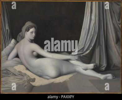 Odalisque in Grisaille. Artist: Jean Auguste Dominique Ingres (French, Montauban 1780-1867 Paris) and Workshop. Dimensions: 32 3/4 x 43 in. (83.2 x 109.2 cm). Date: ca. 1824-34.  This painting is an unfinished repetition, reduced in size and much simplified, of the celebrated <i>Grande Odalisque</i> of 1814 (Musée du Louvre, Paris), a work that was central to Ingres's conception of ideal beauty. Ingres cited it in a list of works he executed in Paris between 1824 and 1834, a period bracketed by lengthy sojourns in Italy. Paintings in shades of gray--<i>en grisaille</i>--were often made to esta - Stock Photo