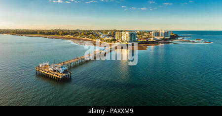 Woody Point Jetty is famous landmark on the Moreton Bay on Redcliffe peninsula, Brisbane, Australia - Stock Photo