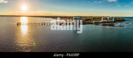 Aerial view of Woody Point Jetty on Redcliffe peninsula, Brisbane, Australia - Stock Photo