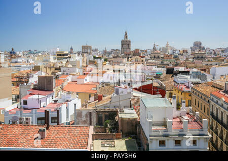 View from the Serrano gate or Serrans Gate on the Center of Valencia, Spain - Stock Photo