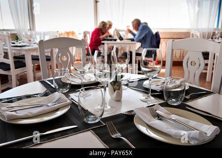 A Modern Restaurant Perla Blanca in Peniscola Northern Spain - Stock Photo