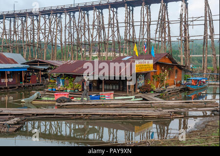 The Mon bridge or Saphan Mon, Sangkhlaburi, Kanchanaburi province,  Thailand - Stock Photo