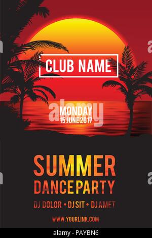 Party Flyer design . Club music flyer vector. Beach sunset illustration - Stock Photo