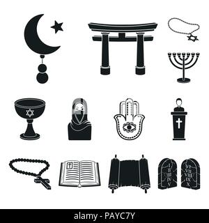 Religion and belief black icons in set collection for design. Accessories, prayer vector symbol stock  illustration. - Stock Photo