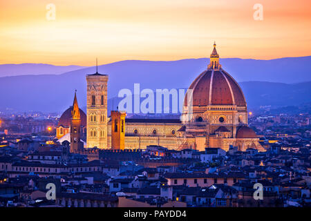 Florence Duomo aerial sunset view, Tuscany region of ITaly - Stock Photo