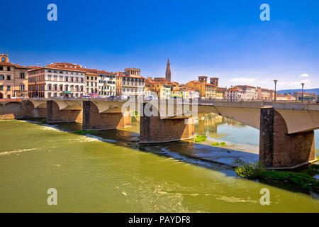 Arno river waterfront of Florence view, Tuscany region of Italy - Stock Photo